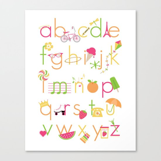 Alphabet for Girls Canvas Print