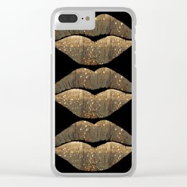 Golden Motes Kissing Lips Clear iPhone Case