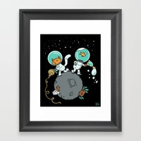 Space Kitty and Captain Fish Framed Art Print