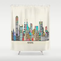 memphis Shower Curtains featuring Memphis city by bri.buckley