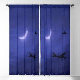 Aircraft Flying Night Moonlight Blackout Curtain