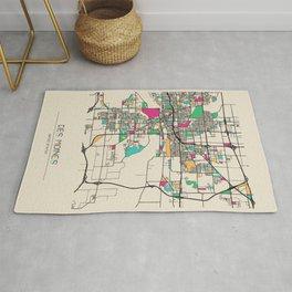 Colorful City Maps: Des Moines, Iowa Rug