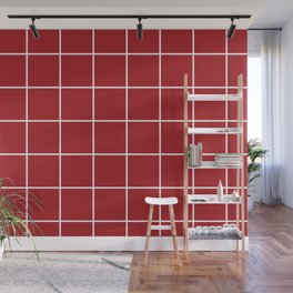 Burgundy Simple Plaid Wall Mural