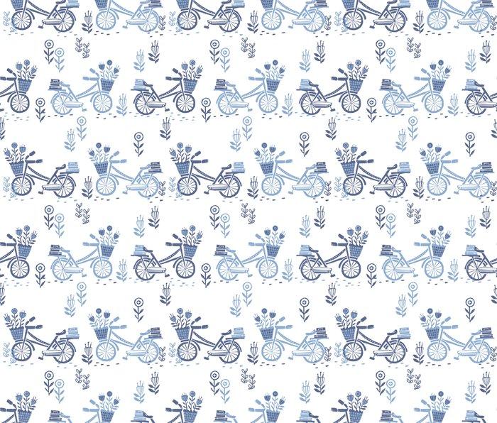Bicycles spring cute white and navy pattern bike print by andrea lauren Metal Travel Mug