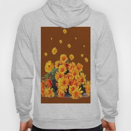 COFFEE BROWN SHOWER GOLDEN FLOWERS Hoody