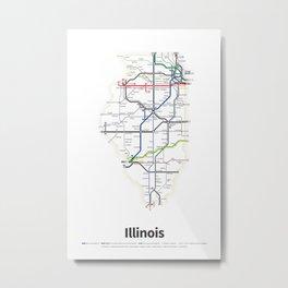 Highways of the USA – Illinois Metal Print