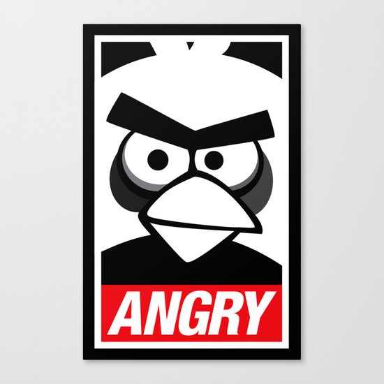 Obey Angry Birds! (Mashup, Parody) Canvas Print