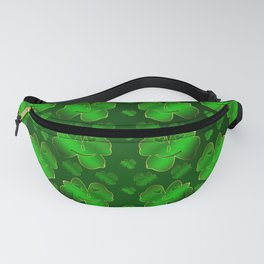funny, laughing, shamrocks, green, st patricks day, shiny, gold, face, smile, shamrock Fanny Pack