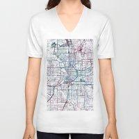atlanta V-neck T-shirts featuring Atlanta map by MapMapMaps.Watercolors