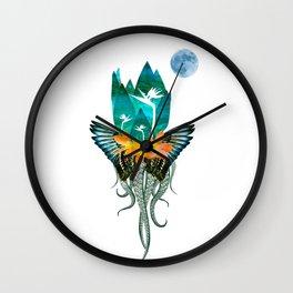 Surreal Paradise Floral Print Wall Clock
