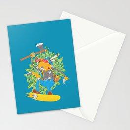 Pirate-cyborg-viking-wizard-treasure hunter-hoverist-super cat Stationery Cards