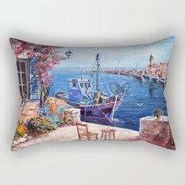 Morning at the Wharf Rectangular Pillow