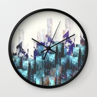 cities Wall Clocks featuring Cold cities by HappyMelvin