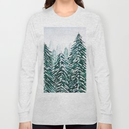snowy pine forest in green Long Sleeve T-shirt