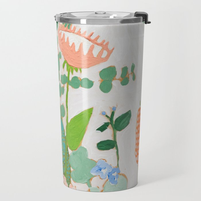 Multi Floral Painting on Pink and White Background Travel Mug