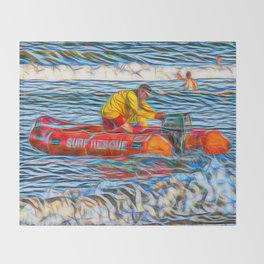 Abstract Surf rescue boat in action Throw Blanket