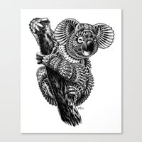ornate Canvas Prints featuring Ornate Koala by BIOWORKZ