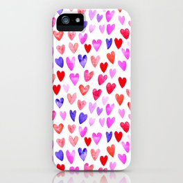 Watercolor Hearts pattern love gifts for valentines day i love you iPhone Case