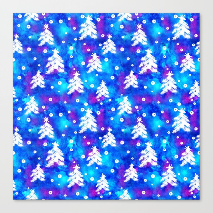 Watercolor Seamless pattern with hand drawn snowflakes and christmas tree . Canvas Print