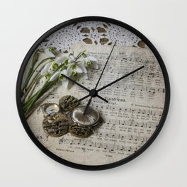Snowdrops and Vintage Watches Wall Clock