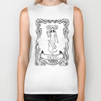 devil Biker Tanks featuring Devil by Sophie Jewel