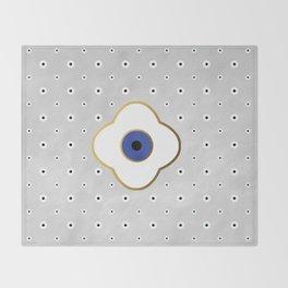 Mati Evil eye protection floral pattern on white Throw Blanket