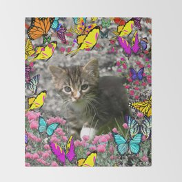 Emma in Butterflies - Gray Tabby Kitty Throw Blanket