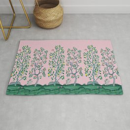 Citrus Grove Chinoiserie Mural in Pink Rug