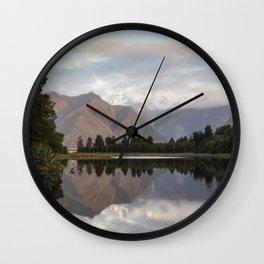 New Zealand Lake at sunset Wall Clock
