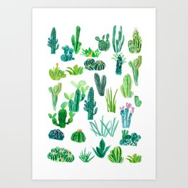cacti collection watercolor  Art Print