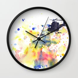 Helicopter Flying into Color Wall Clock