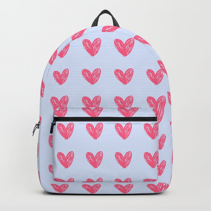 Pink hearts on blue Backpack