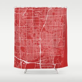 Fort Lauderdale Map, USA - Red Shower Curtain