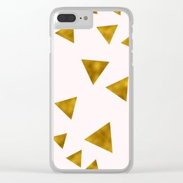 Soft Pink And Rustic Gold Triangles Clear iPhone Case