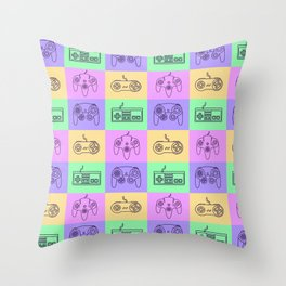 Nintendo Gaming Controllers - Retro Style! Throw Pillow