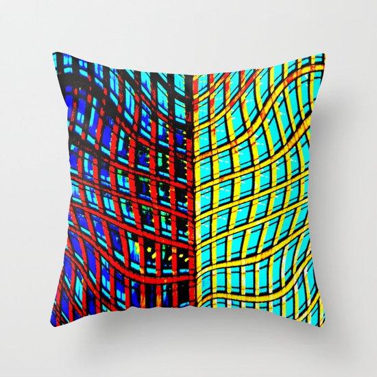Collapsing Skyscraper Throw Pillow