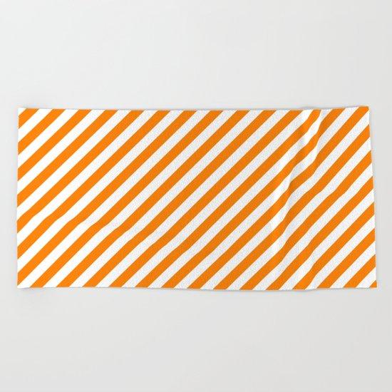 Diagonal Stripes (Orange/White) Beach Towel