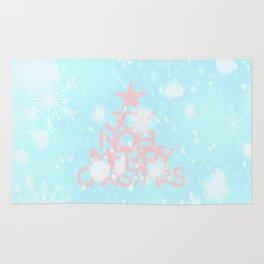Joy, Noel, Merry Christmas and Star pattern - pink on aqua Rug