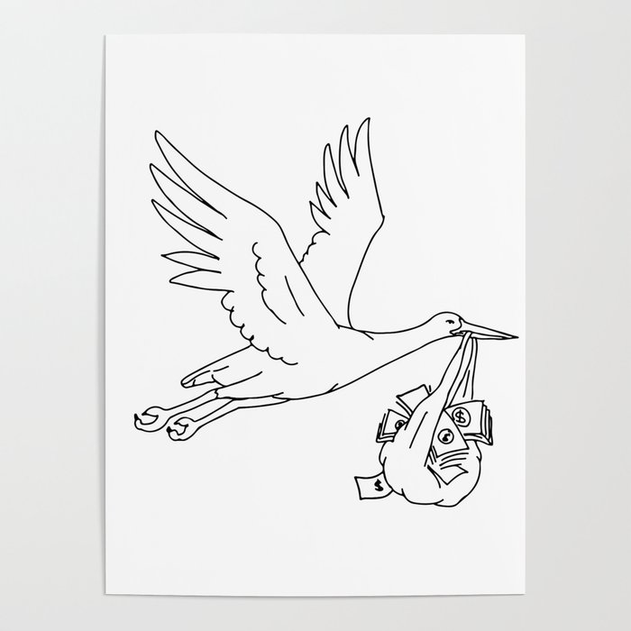 Stork Delivering Money Bag Drawing Poster By Patrimonio