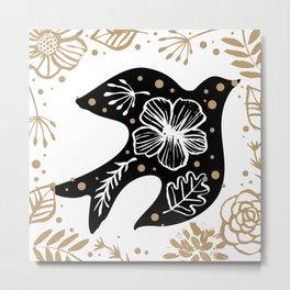 Back beige and white floral bird framed Metal Print