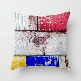 Funny Neoplasticism Style Art Of Grunge Wooden Planks Throw Pillow