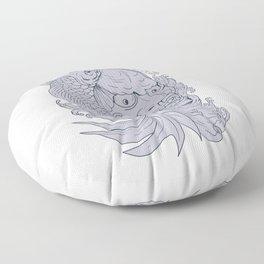 Hannya Mask and Koi Fish Drawing Floor Pillow