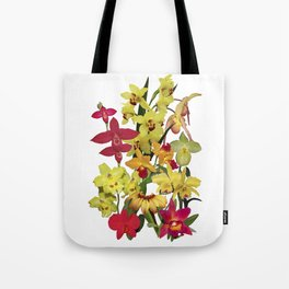 Orchids - Hot Colors! On white Tote Bag