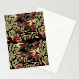 Seamless watercolor roses pattern on black Stationery Cards