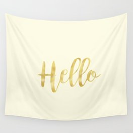 Hello in Golden Yellow on Cream Wall Tapestry