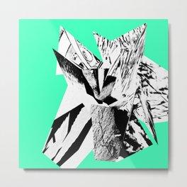 Green Glitch Scrunch Metal Print