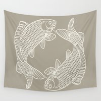 gray Wall Tapestries featuring Koi Alabaster Blue Gray by Beautiful Homes