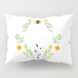 Bees in the Garden - Watercolor Graphic Pillow Sham