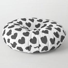 Black and White heart brush stroke abstract pattern Floor Pillow