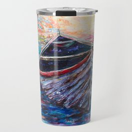 Wooden Boat at Sunrise - original oil painting with palette knife Travel Mug